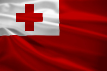 Tonga flag blowing in the wind