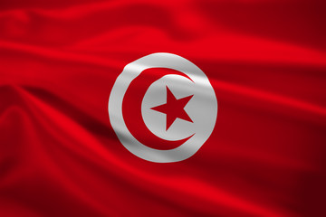 Tunisia flag blowing in the wind