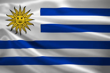 Uruguay flag blowing in the wind