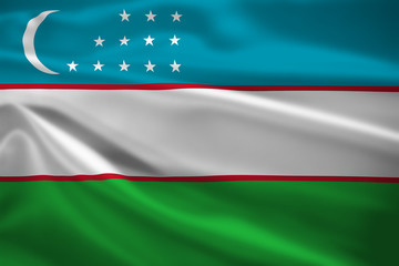 Uzbekistan flag blowing in the wind