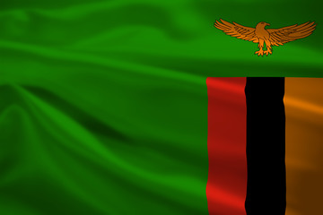 Zambia flag blowing in the wind