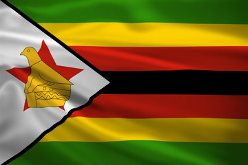 Zimbabwe flag blowing in the wind