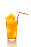 Orange juice in glass. Isolated on white background.