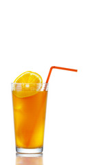Orange juice with sliced orange in glass