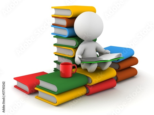 3D Man sitting and Reading with books and cup