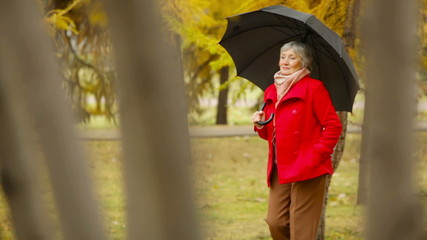Red Coat, Black Umbrella