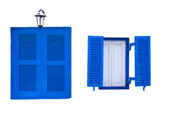 Santorini Greek style blue closed open windows isolated