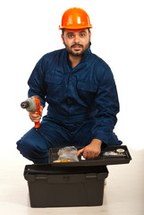 Electrician worker with tool box