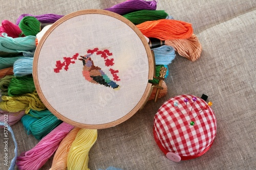 Background with sewing accessories - 57769022
