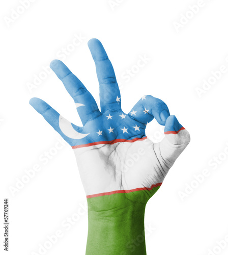 Hand making Ok sign, Turkmenistan flag painted