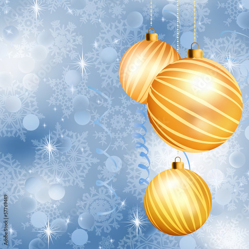 Christmas ball on abstract blue lights. EPS 10