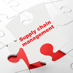 Advertising concept: Supply Chain Management on puzzle