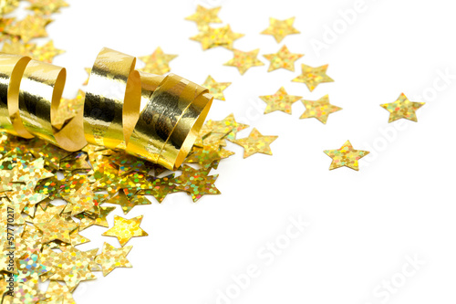 golden ribbon and confetti stars