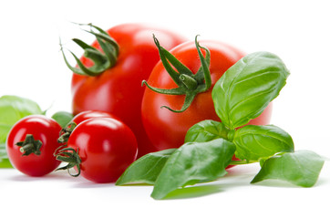 Tomaten und Basilikum close-up