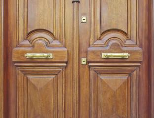 natural walnut wood door closeup