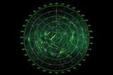 Modern radar screen with green round map