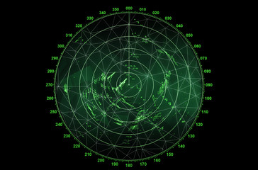 Modern radar screen with green round map