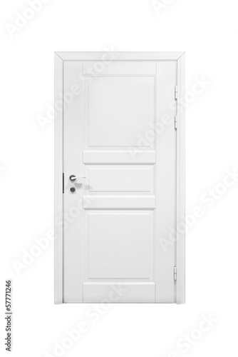 Classical closed wooden door isolated on white background