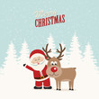 santa claus and reindeer snowy winter background