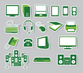 Media Icon Set Green C olor