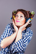 portrait of attractive girl with curlers