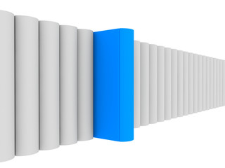 3d render of blue unique book with clipping path