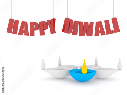 3d happy diwali text with single color diya
