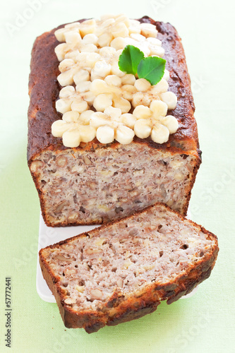 Banana bread with walnuts, selective focus