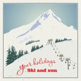 Winter background. Mountains and ski lift.