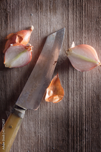 Shallot with kitchen knife