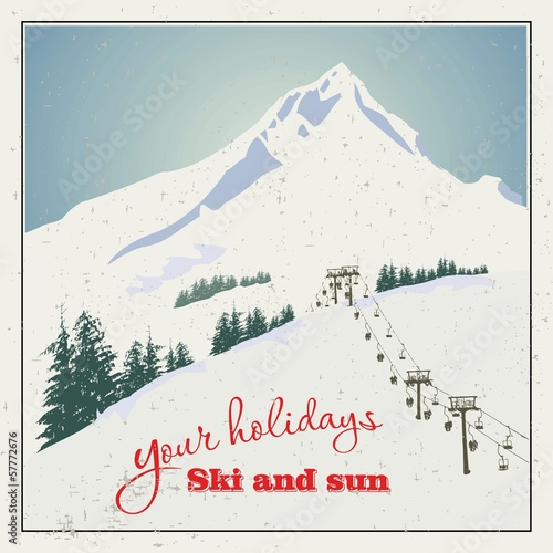 Winter background. Mountains and ski lift. - 57772676