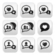 Love speech bubbles, couples vector buttons set