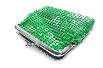 Green metal purse