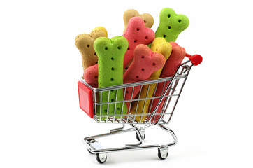 dog biscuits in a shopping trolley