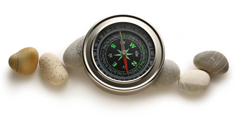 Compass and sea stones
