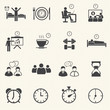 Man Daily Routine People icons set with texture background.