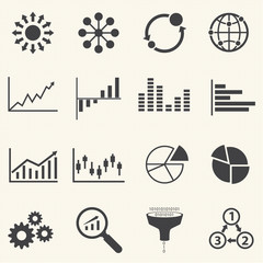 Business Infographic icons with texture background. Vector Graph
