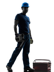 manual worker man standing silhouette