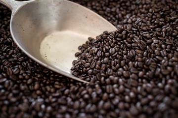 Coffee beans in bag with stainless scoop utensil