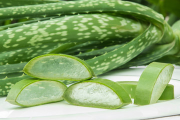 Aloe Vera on white plate.