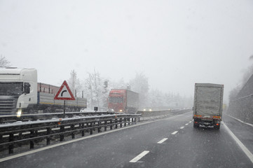 bad weather on the motorway