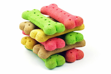 stack of colored dog biscuits