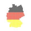 Karte von Deutschland aus schwarzen, roten und gelben Pixeln