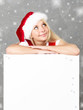Women with santa hat dreaming on message board