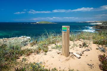 hiking  sign coast portugal
