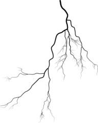 black lightning shape curve on white