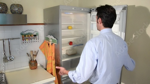 hungry man looking for food in empty refrigerator