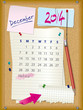2014 calendar - month December - cork board with notes