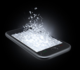 Smart phone display being shattered