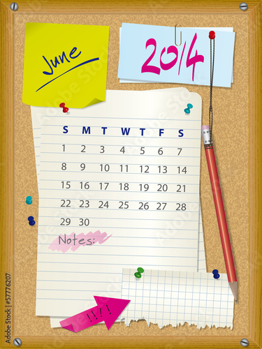 2014 calendar - month June - cork board with notes
